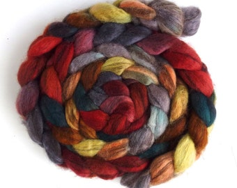 Mixed BFL Wool Roving, Hand Painted Spinning or Felting Fiber, 4 ounces, Maybela's Promise