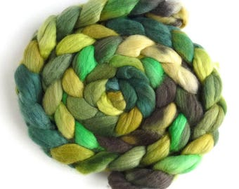 Finn Wool Roving - Hand Painted Spinning or Felting Fiber, View From The Hill