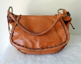 Gianni Bini messenger bag whiskey brown genuine leather  strap braided details hobo satchel bag purse vintage early 90s pristine  condition