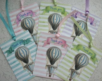 HOT AiR BALLOONS - Set of 6 Thank you tags or notecards - Pastels, Watercolor, Stripes, elegant - sweet - WHAB 2343