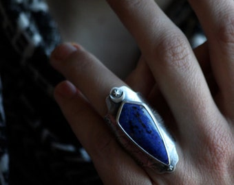 Seraphina  … sterling silver, lapis, textured, nocturnal saddle ring size 6