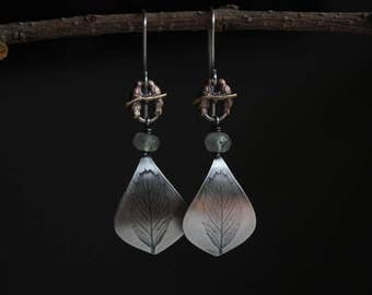 Spring........ sterling silver, copper, prehnite, bird, native mountain mahogany leaf, rain, earrings