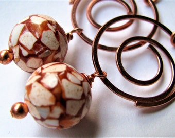 Rust Red and Copper Earrings, Russet Red Brown and Beige Earrings, Bright Copper Spiral Earrings