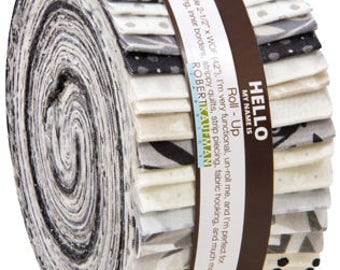 "Clearance! Jelly Roll Black and White Collection One by Jennifer Sampou 40 - 2.5 x 44"" strips Roll-Up Robert Kaufman"