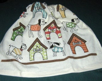 Crochet Kitchen Hanging Towel, Comiccal Dogs & dog Houses Beige top