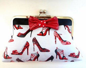 wallet clutch, rockabilly wedding, rockabilly pin up clutch, evening bag, gift for her, cocktail clutch, makeup bag, bridesmaid gift