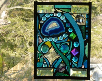 Lost in Turquoise and loving it  No 7 Stained Glass Abstract Art Mixed Media Panel