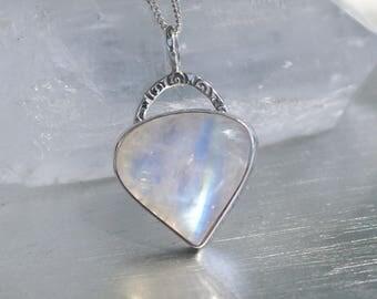 Rainbow Moonstone Artisan Sterling Silver Pendant Necklace