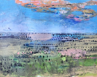 Dotted Landscape, Original acrylic painting on paper