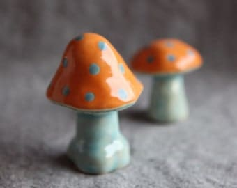 Mushrooms Toadstools in Stoneware Ceramic with orange and blue spots