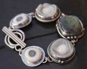 RESERVED oOo labradorite, concho agate druzy, solar quartz and sterling silver metalwork link bracelet
