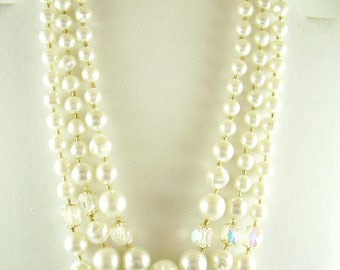 Vintage 1960's Pearl Necklace Earring Set - Vintage Pearl Parure - Signed Japan 1960's Vintage Parure - Jewelry Gifts - 60's Pearl Necklace