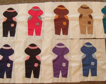 Collection of 14 Vintage Overall Sam Quilt Blocks and Pattern. 10x12