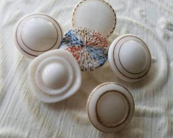 Vintage Buttons - lot of 6 milk glass hand painted medium size pressed glass  designs.  ( mar 117 17)