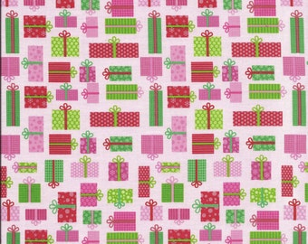 Riley Blake's CHRISTMAS CANDY PRESENTS Flannel Fabric in Pink by Sheri Berry ~ per 1/2 yard ~ F2543