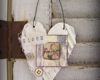 Shabby White Decor Heart Ornament Vintage Floral Collage  Love Ornament  Cottage Style Heart Wall Hanging Antique Paper Heart Ornament