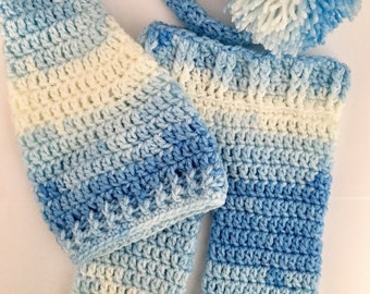 Newborn elf hat... pants set... photography prop.. ready to ship... blues and white... long tail hat... newborn boy hat