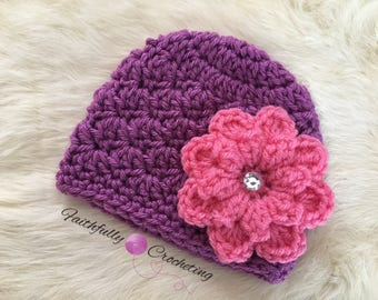 Newborn girl beanie... flower hair clip.. ready to ship.. photography prop