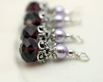 Vintge Style Purple and Lavender Crystal with Ornate Silver Bead Dangle Charm Drop Set - Earring Dangle, Charm, Drop, Pendant