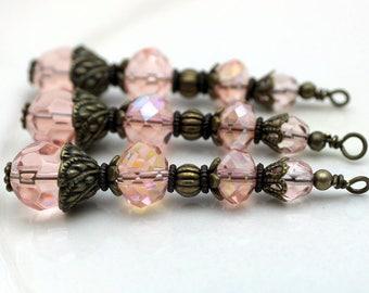Vintge Style Pink Crystal Large Long Pendant, Dangle, Earring, Jewelry Pendant, Necklace Pendant