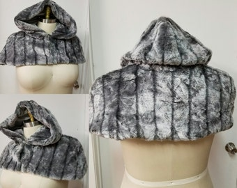 SALE- Grey Caplet- Winter Cape Faux Fur Striped Gray Textured - Wedding Wonderland Victorian- READY to Ship