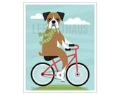 116D Dog Art - Brown Boxer Dog on Bicycle Wall Art - Bicycle Art - Red Bicycle Print - Boxer Print - Funny Dog Drawing - Bicycle Drawing
