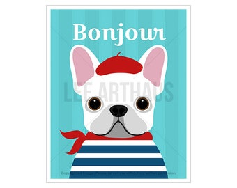 90D Dog Print - White French Bulldog Wall Art - Frenchie Dog Print - French Bulldog Dog Art - Dog Portrait - Funny Dog Print - Bonjour Art