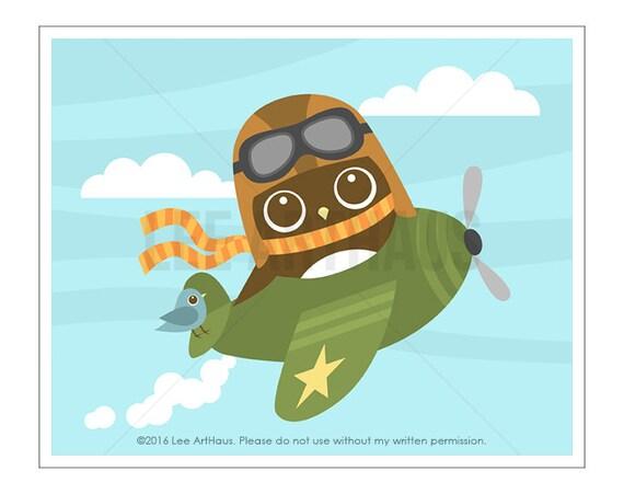 103A Owl Nursery Print - Owl in Airplane Wall Art - Airplane - Baby Boy Nursery Wall Art - Airplane Wall Art - Airplane Decor - Boys Art