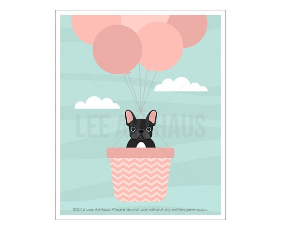 66F Dog Print - Black French Bulldog in Pink Hot Air Balloon Wall Art - Pink Balloons Print - Pink Girl Nursery Decor - Frenchie Art Print