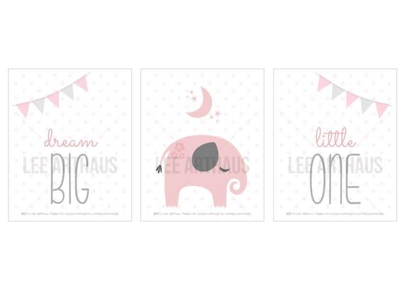 21S Girl Nursery Decor - Pink and Gray Girl Print Set - Set of 3 Prints - Dream Big Little One - Baby Girl Wall Art - Inspirational Nursery