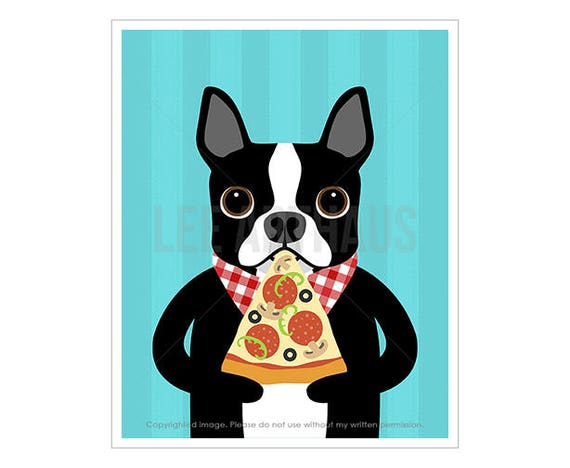 212D Pizza Print - Boston Terrier Eating Pizza Wall Art - Boston Terrier Print - Slice of Pizza Art -  Boston Terrier Art - Kitchen Decor