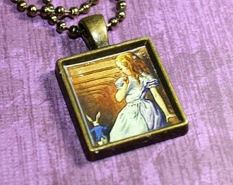 Alice And The White Rabbit Resin Necklace - Alice In Wonderland - Resin Pendant