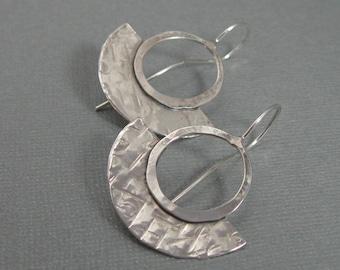 Sterling Geometric Fan Earrings, Hand forged Contemporary Artisan Sterling Silver Earrings