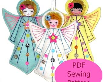 PDF Sewing Pattern, Felt Angel  Pattern, Felt Angel Template, DIY Christmas Angel, Angel Tutorial, Felt ornament pattern
