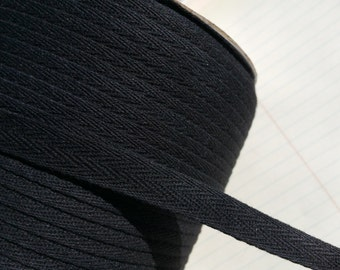 "Black Cotton Trim Tape - Sewing Bunting Banners Shipping Packaging - 1/2"" Wide"