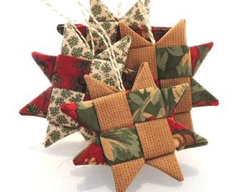 Homespun Plaid Folded Fabric Star Ornament