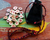Antler runes - mini pocket travel deer antler rune set with recycled leather pouch for divination and spirituality - READY TO SHIP now