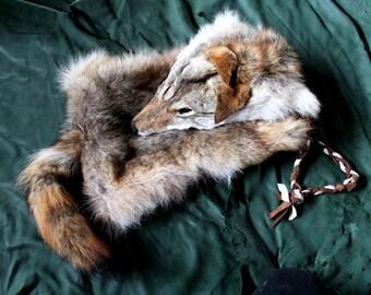 Real coyote fur and deerskin shoulder bag pouch with yarn cord pelt hide skin totem bag