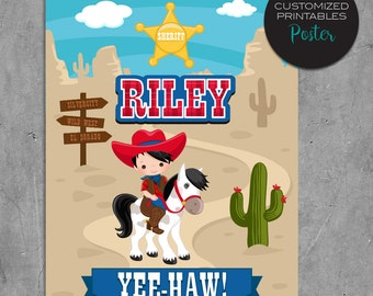 Printable custom Cowboy Birthday Poster, Custom Red & Blue Wild West Cowboys Birthday Party Poster, wall art, centerpiece, sheriff, cactus
