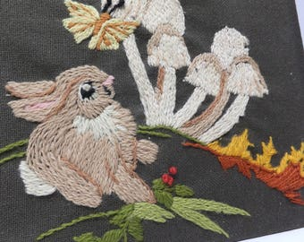 Spring bunny picture - crewel embroidery - ready to frame