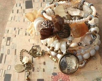 Mellow Yellow Klimt First Kiss Opal Citrine BOHO Wrap Rosary Bracelet