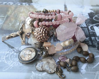 My Mama Told Me Rose & Strawberry Quartz BOHO Rosary Wrap Bracelet