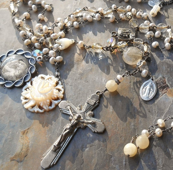 She's a LadyVintage Rosary and Pearl 3 Strand Necklace Sterling Crucifix & Medals