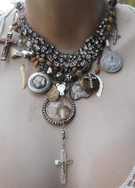 Antique Rosary Pyrite Statement Necklace I'll Stand By You