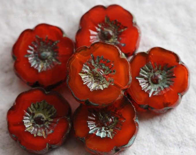 PERSIMMON PANSY No. 1 .. 6 Picasso Czech Glass Flower Beads 12mm (5559-6)