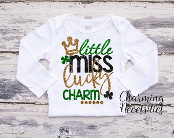 Baby Girl St Patricks Day Shirt, Coming Home, Toddler Girl Shirt, Little Miss Lucky Charm, by Charming Necessities Green Black Gold