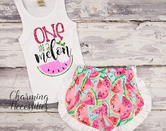 NEW One in a Melon Glitter Tank Top and Ruffle Shorts Set, Trendy Baby Toddler Girls Summer Outfit Watermelon shorts, Charming Neces