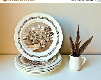 Sale 6 Antique Plates Vintage Transferware Dishes J & G Meakin