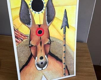 Red Kangaroo Warrior as Totem - Original Art