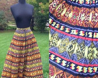 Harmony 70s Bohemian Skirt Draw String Waist One Size Fit All